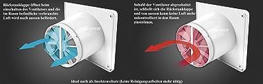 Ventilateur de salle de bain - Diamètre : 100 mm - Façade en verre avec clapet anti-retour et capteur d'humidité - Hygros