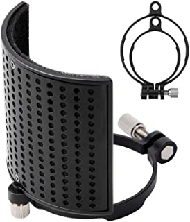 Pop Filter, Moukey [Upgraded Three Layers] Metal Panel & Metal Mesh & Advanced Filter Foam Layer Microphone Windscreen Cover Handheld Mic Shield Mask, for BLUE YETI, AT2020, AT2050 - MPFUBK1