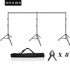 Emart Photo Video Studio 20 ft Wide 10 ft Tall Adjustable Heavy Duty Photography Backdrop Stand, Background Support System Kit with 3 Stands, 8 Spring Clamps, 1 Carrying Bag