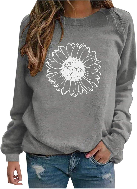 Sweatshirts for Women,Womens Fashion Sunflower Print Round Neck Long Sleeve Sweatshirt Casual Loose Pullover Tunic Top