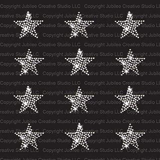 Set of 12 Clear Stars Iron On Rhinestone Crystal T-shirt Transfers by JCS Rhinestones