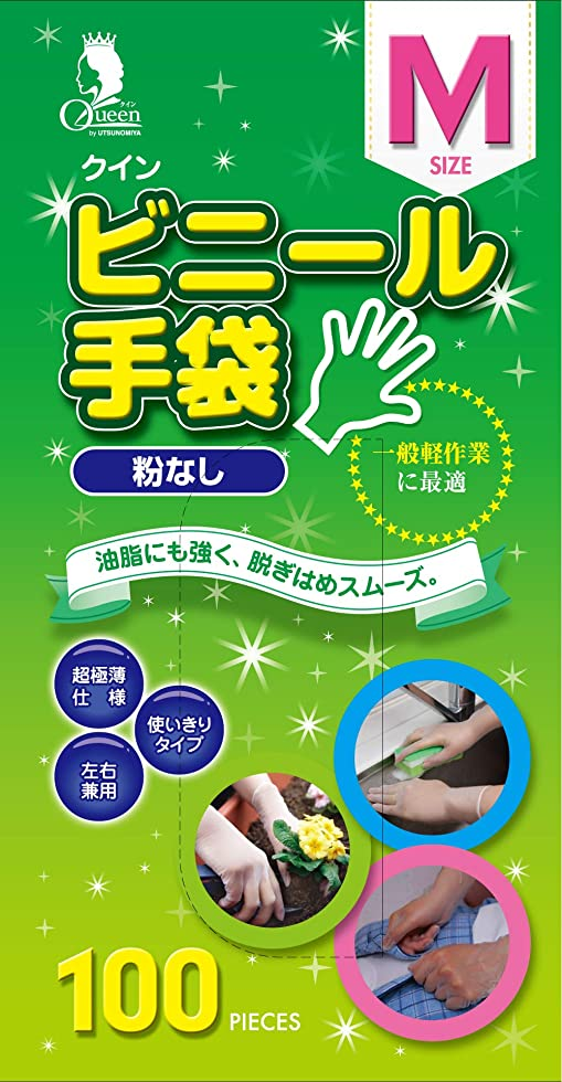 外観仮定する救い宇都宮製作 クイン ビニール手袋(パウダーフリー) M 100枚