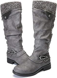 Botas de Mujer Otoño Invierno 2020 Tacon Bajo Zapatos Largas Botas Forrado de Piel Antideslizante Cómodo Cremallera Hebilla,Negro Marrón Gris