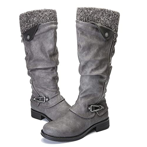 11eaa3f92b9 gracosy Knee High Boots Women s Leather Ankle Riding Boots Ladies Low Flat  Heel Round Toe Long