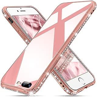 OCYCLONE [Tempered Glass] iPhone 8 Plus Case, iPhone 7 Plus Case, Cute Pretty Glitter Diamond Rhinestone Bumper Pink Protective Girly Glass Case for iPhone 8 Plus / 7 Plus - Pink