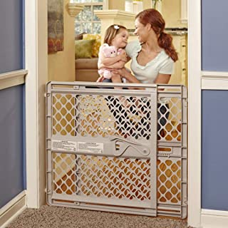 """North States 42"""" Wide Supergate Ergo Baby Gate: Easy-fit and Adjustable. Pressure or Hardware Mount (mounts Included). Fits 26""""-42"""" Wide (26"""" Tall, Sand)"""
