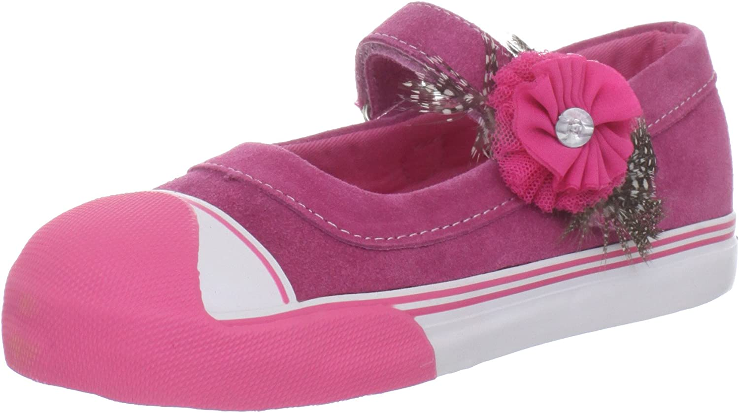 Morgan & Milo Avril MJ Feathered Floral Mary Jane Sneaker (Infant)