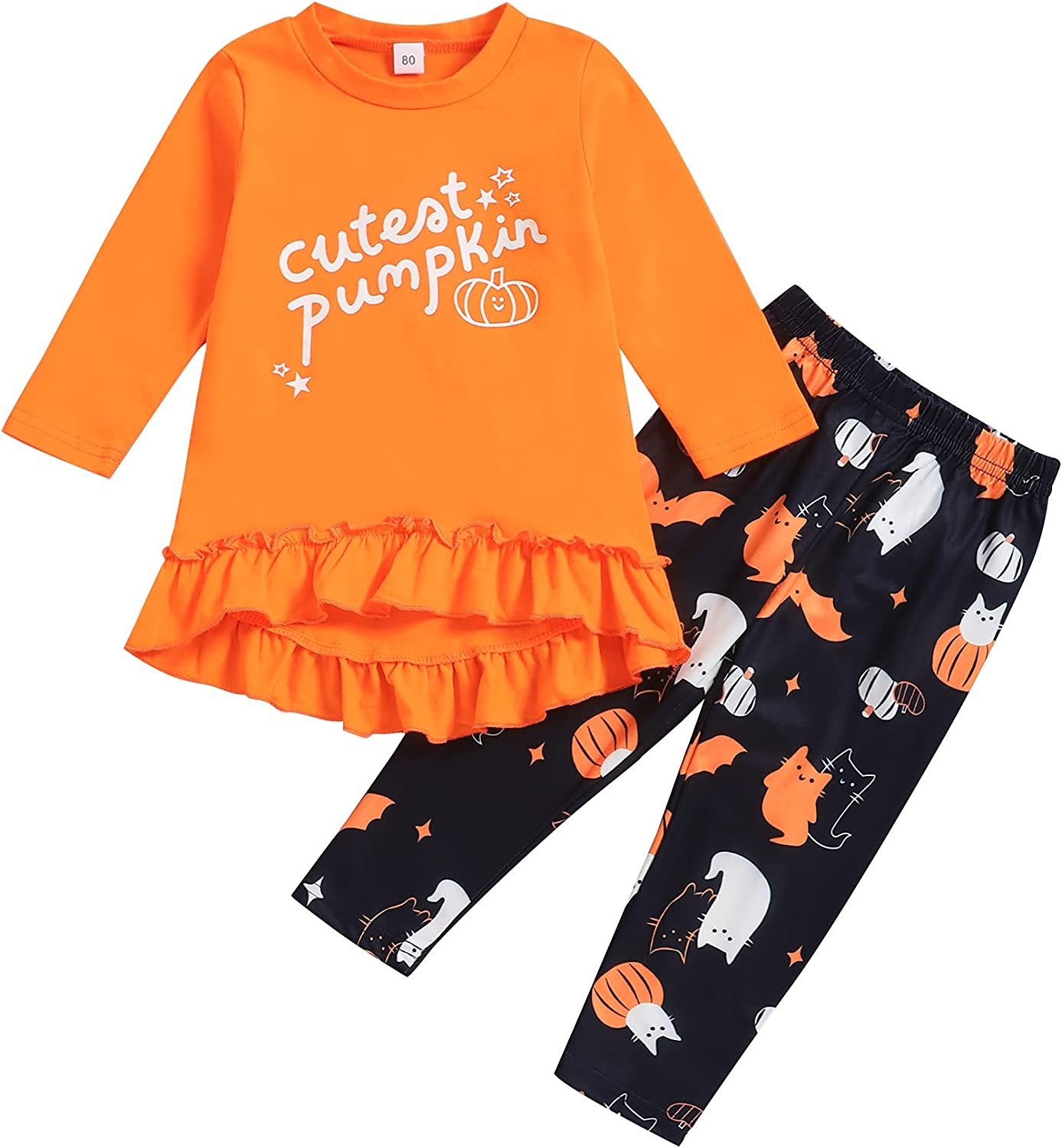 Toddler Baby Girl Halloween Clothes Long Sleeve Ruffle Dress Pants Outfits Set