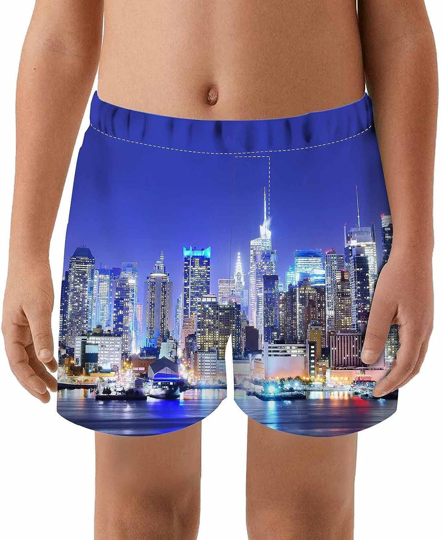 WONDERTIFY Manhattan Skyline Night Swim Metropolitan latest Kids Department store Trunks