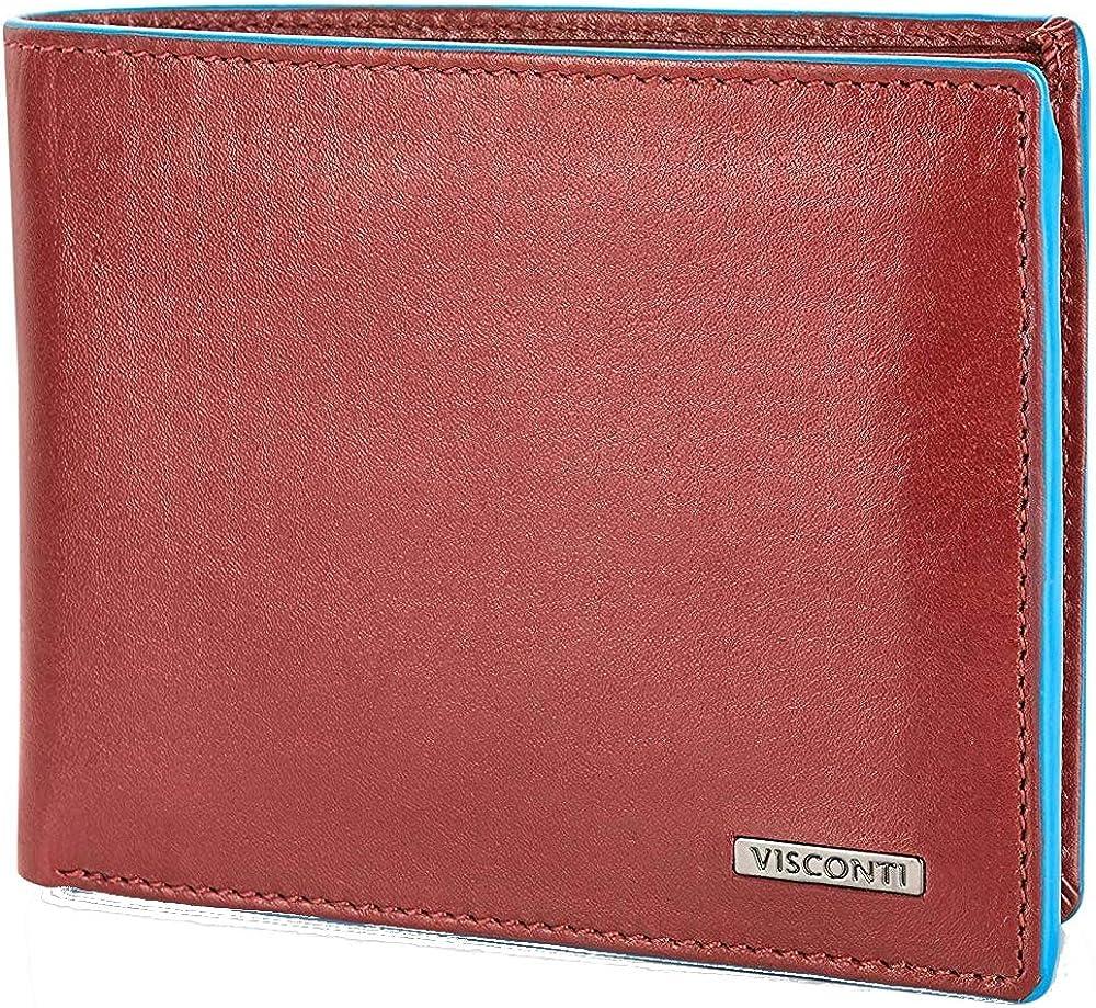 Visconti ®, portafoglio per uomo, in vera pelle, porta carte di credito, rosso