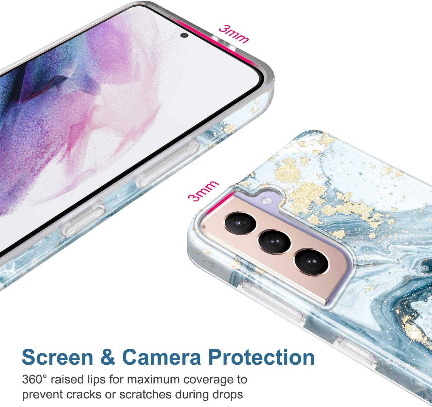 JIAXIUFEN Galaxy S21 Case Gold Sparkle Glitter Marble Slim Shockproof TPU Soft Rubber Silicone Cover Phone Case for Samsung Galaxy S21 5G 6.2 inch 2021 Blue