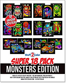Super Pack of 18 Fuzzy Velvet Coloring Posters (Monsters Edition)