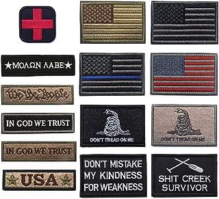 R.SASR Bundle 14 Pieces American Flag Tactical Military Morale Patch Set (Mixed 14 Pieces)