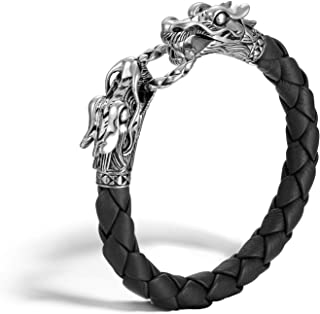 John Hardy Women's Legends Naga Silver Dragon Bracelet on Black Woven Leather 8mm, Size M