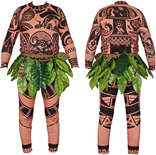 Maui Tattoo Clothing/Maui Suit/Mens Maui Costume ,Moana Maui Costume Halloween Adult Maui Men's Cosplay Costume