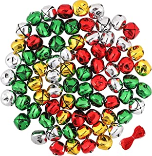 Outuxed 168Pcs 1Inch Jingle Bells Colorful Christmas Metal Bells Craft for Festival Decoration DIY Charms Jewelry Making