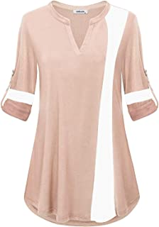 AxByCzD Womens Long Sleeve V Neck Color Block Blouse Casual Flowy Tunic Tops