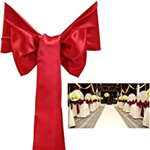 PIXNOR Fashion And Delicate Satin Bowknot Chair Cover Sashes Bows Ribbons Red