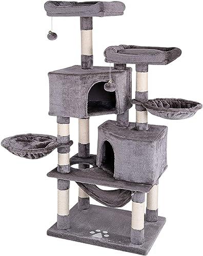 lionto by dibea Arbre à chat arbre à grimper griffoir pour chat hauteur 145 cm gris foncé