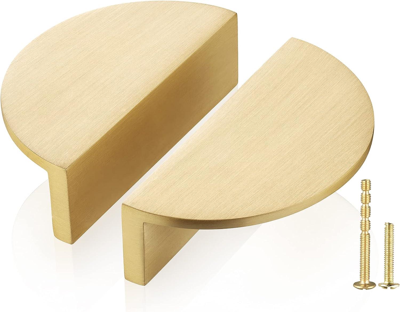 QogriSun 5-Pack Solid Los Angeles Mall Brass Half Drawer Gold Moon Cabinet Pulls Atlanta Mall