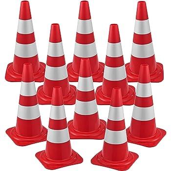 10x Birilli Stradali Cono Segnaletico Spartitraffico 29 x 50 cm Piloni con Strisce Riflettenti Coni Avvertimento di Traffico/Sicurezza Stradale Rifrangente - Rosso/Bianco