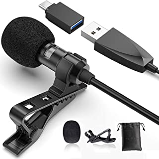 USB Lavalier Lapel Microphone for Video Recording Podcasting Streaming, USB C Clip-on Computer Microphones, Plug & Play Om...
