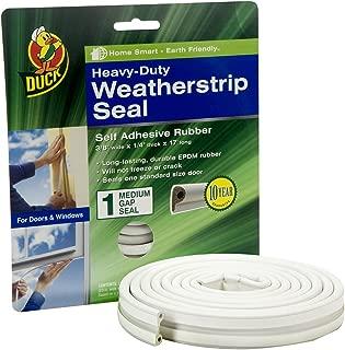 Duck Brand Heavy-Duty Self Adhesive Weatherstrip Seal for Medium Gap, White, 3/8-Inch x 1/4-Inch x 17-Feet, 1 Seal, 282435