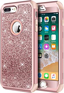 iPhone 8 Plus Case, iPhone 7 Plus Case, Hython Heavy Duty Defender Protective Case Bling Glitter Sparkle Hard Shell Armor Hybrid Shockproof Rubber Bumper Cover for iPhone 7 Plus and 8 Plus, Rose Gold