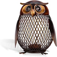 Tooarts Owl Shaped Metal Coin Bank Box Handwork Crafting Art Piggy Bank Owl Gifts