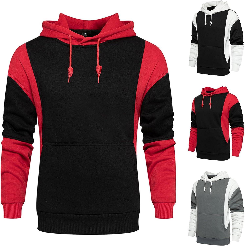 Men's Hoodie Patchwork Athletic Sweatshirt Casual Long Sleeve Slim Fit Drawstring Pullover Tops Gym Hooded Outwear Coats