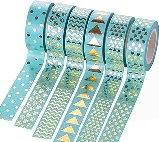 Joy Feel Buy Masking Cinta Adhesiva DIY Washi Tape Schön Deko Cinta Adhesiva Sticky Papel Tape schreibwaren para Cualquier Lugar Decorar, 6Rollo Azul aleatoria patrón