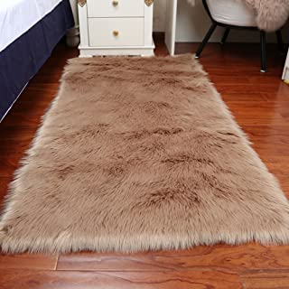 CHITONE Faux Fur Sheepskin Area Rug, Baby Bedroom Rugs Fluffy Rug Home Decorative Shaggy Rectangle Carpet, 2x3 Feet, Cameo Brown