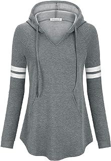 LASLULU Womens Striped Hoodie Sweatshirt Pullover Tops Workout Athletic Pockets