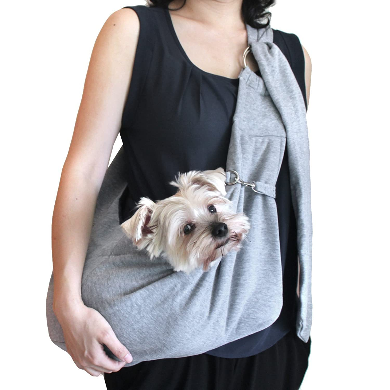 viewing(ヴューイング) 小型犬用 子犬 抱っこ紐 ひも バックスリング バッグスリング ペット PET キャリー キャリア デニム or コットン 肩紐長さ調整可能タイプ (コットン?グレー)