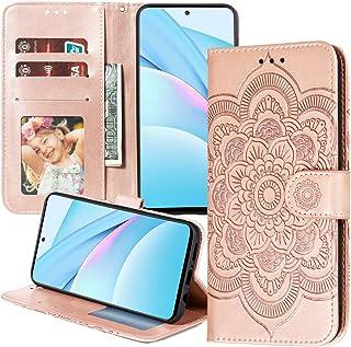 XYX Capa carteira compatível com LG K62, [flor mandala em relevo] capa de couro sintético compatível com LG K52 (ouro rosa)