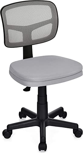 lowest Giantex Armless Desk Chair, Low-Back Computer Chair Ergonomic Small Task Chair with Adjustable Height, Y-Shaped Support for high quality Adults Teens Kids, 360° Swivel Office new arrival Chair (Gray) outlet online sale