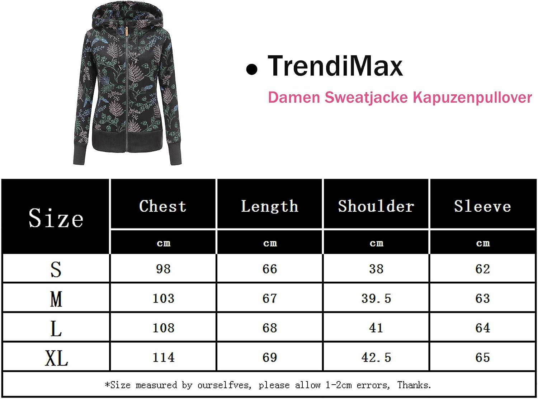 TrendiMax Sudadera con capucha para mujer con cremallera y capucha