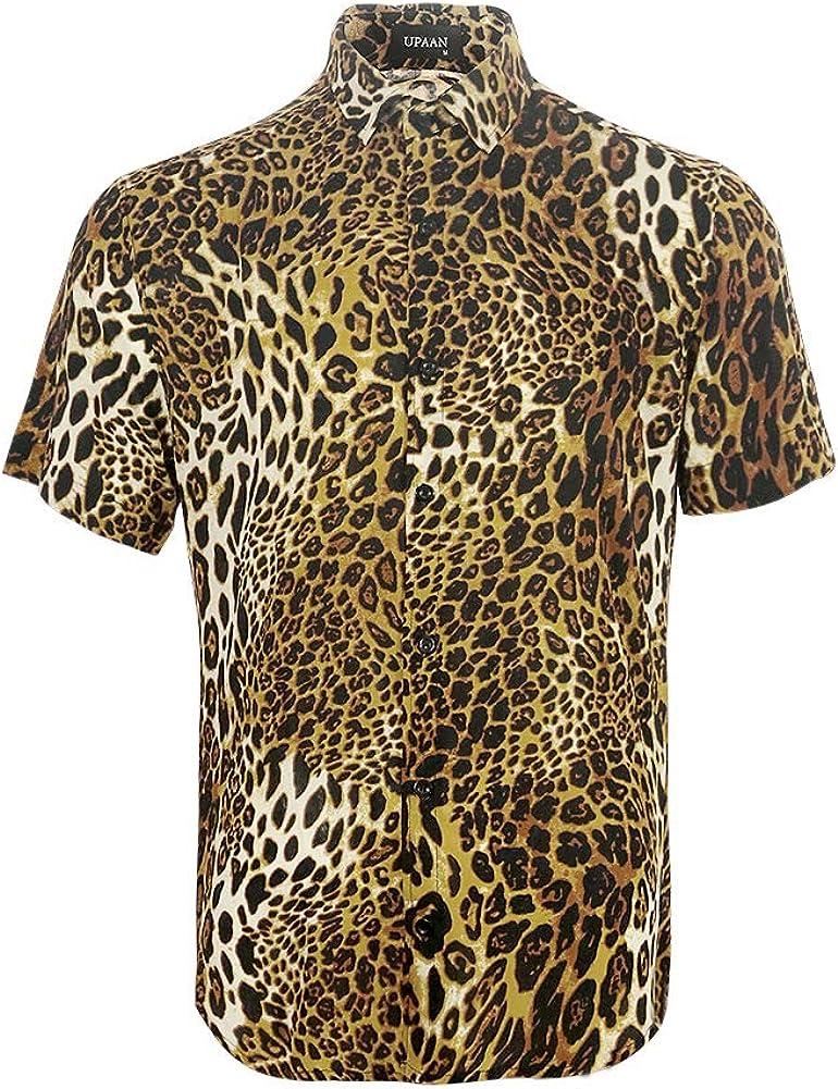 UPAAN Men's Leopard Printed Disco Shirts Short Sleeve Button Down Casual Shirt