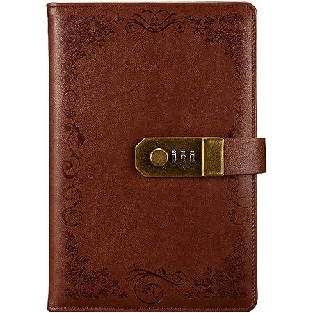 Vintage Leder Tagebuch mit Schloss 20 x 14 cm B6 Tagebuch mit Zahlenschloss Planer Agenda gr/ün Schreibnotizbuch