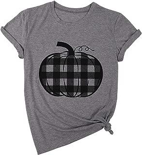 Pumpkin Shirt Women Buffalo Plaid Pumpkin Tee Tops Halloween Thanksgiving Gift T Shirts Blouse