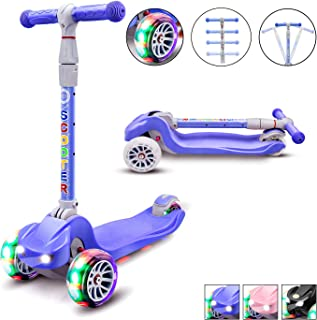 XJD Kick Scooter for Kids 3 Wheel Scooter for Girls Boys Toddler Scooter 4 Adjustable Height Lean to Steer with PU LED Light Up Wheels for Children from 3 to 12 Years Old