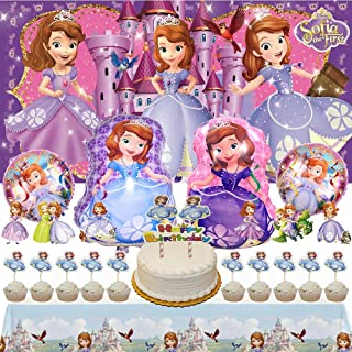 Sofia Party Supplies Cake Topper Balloons For Girl Banner Backdrop Birthday Decorations