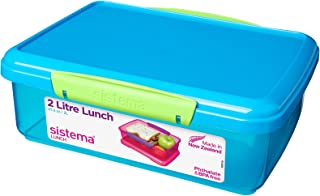 Sistema Blue Medium Plastic Kids School Sandwich Lunch Box Food Storage by Sistema
