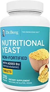 Dr. Berg's Nutritional Yeast Tablets – Non-Fortified Natural B12 Added - with All 8 B Vitamin Complex – No Gluten Non-GMO ...