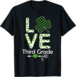 Love Shamrock Third Grade Teachers Costume St Patricks Day T-Shirt