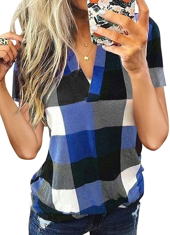 BLENCOT Womens Casual Summer Short Sleeve V 1 year Max 87% OFF warranty Neck Shi Plaid Basic