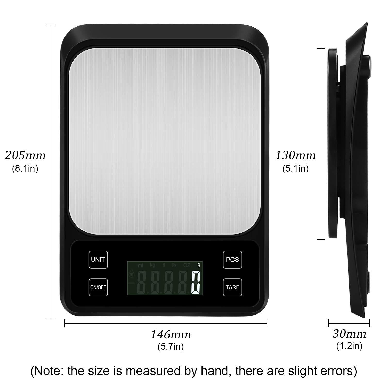 Bater/ías No Incluidas Balanza de Alimento Multifuncional Plata Zorara B/áscula Digital para Cocina de Acero Inoxidable Peso de Cocina con Pantalla LCD 3kg//6.6 lbs Plata