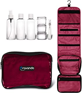 "TRAVANDO Hanging Toiletry Bag""FLEXI"" + 7 TSA Approved Liquid Bottles - Travel Set for Men and Women - Toilet Kit for Cosmetics, Makeup - Organiser for Suitcase - Wash Bag with Containers (Red)"