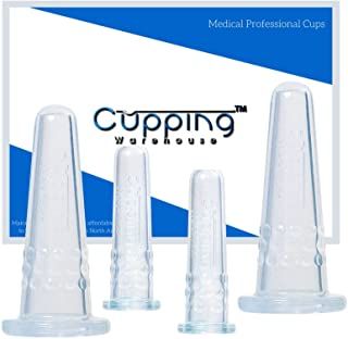 Cupping Warehouse Grip Classic 4 Facial Cupping Set -Professionals and Self Care Home Spa for Face Eyes Lips Neck Scars Ly...