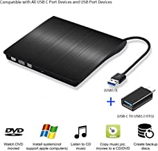 Portable Ultra-Thin External CD Drives DVD Player USB3.0/USB-C 2 in 1 External DVD Recorder CD-ROM Player for Windows iOS etc (Black [USB3.0 + USB-C Converter])